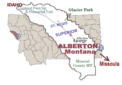 Map of Alberton Montana, Mineral County, by GSWrite